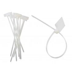 Abraçadeira de Nylon 2,8x150mm Branca com Local para Etiqueta - Kit com 10 Unidades