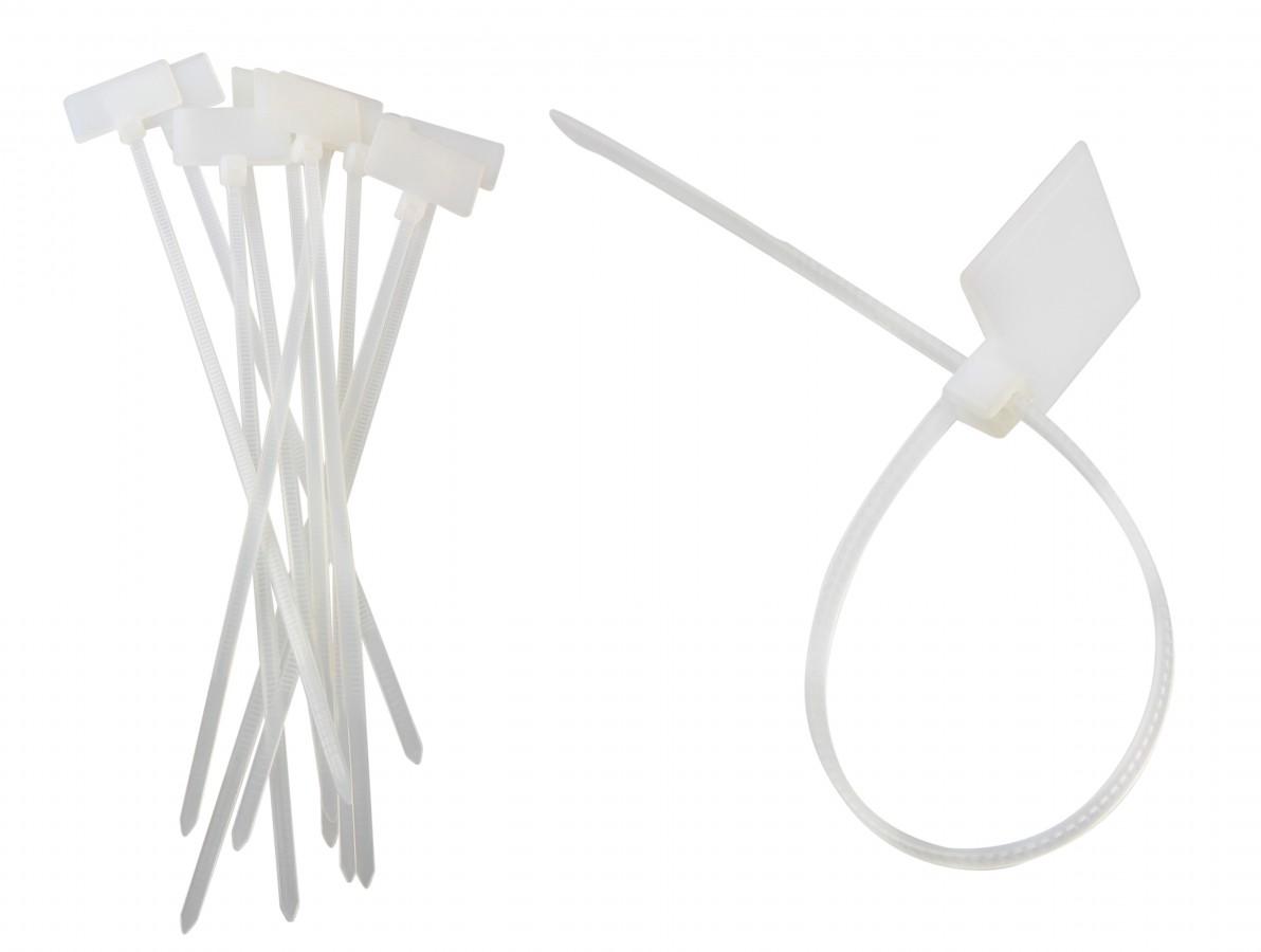 Abraçadeira de Nylon 3x150mm Branca com Local para Etiqueta - Kit com 10 Unidades