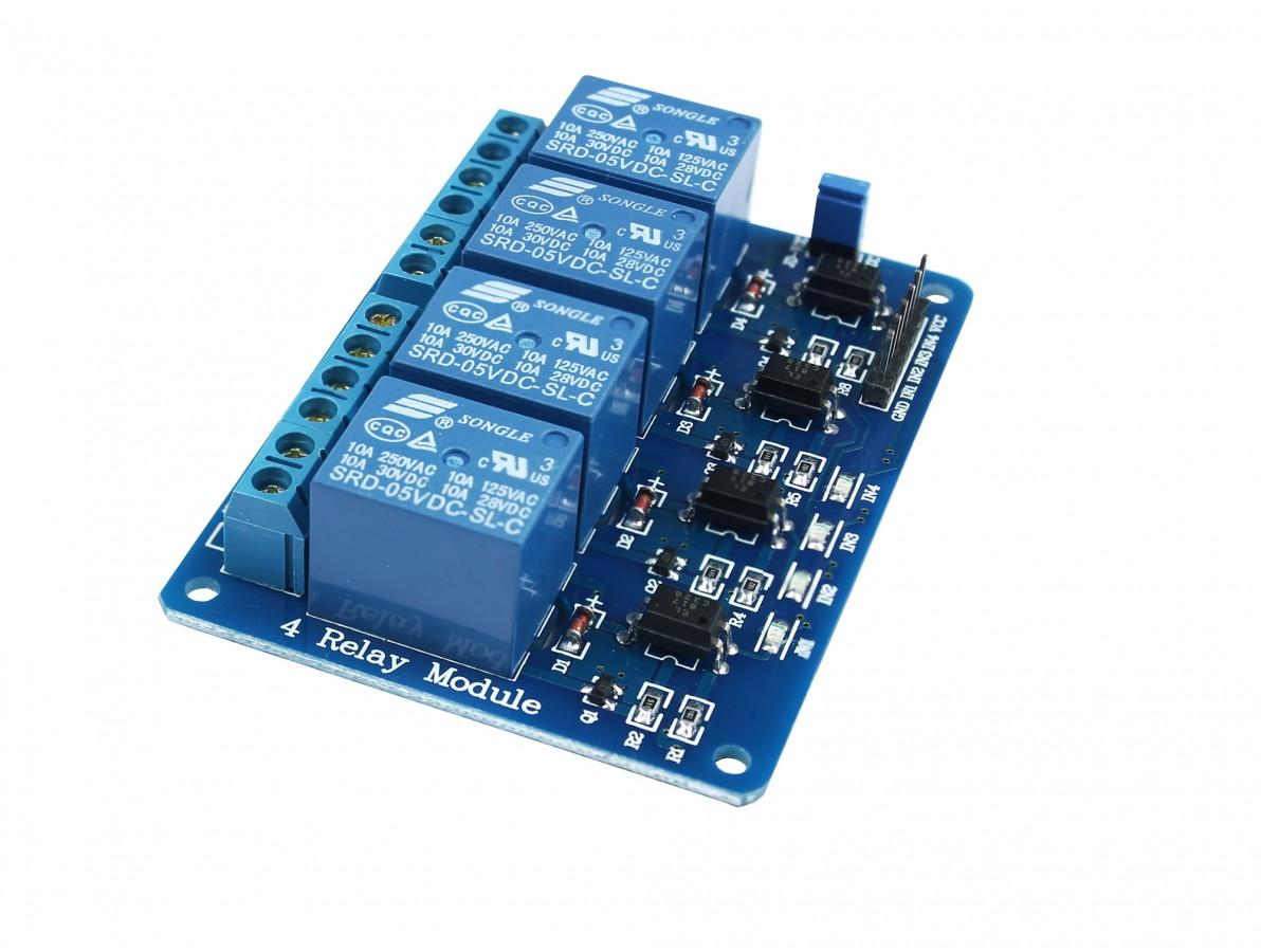 Módulo Relé 4 Canais 5V com Optoacopladores para Arduino e Raspberry PI