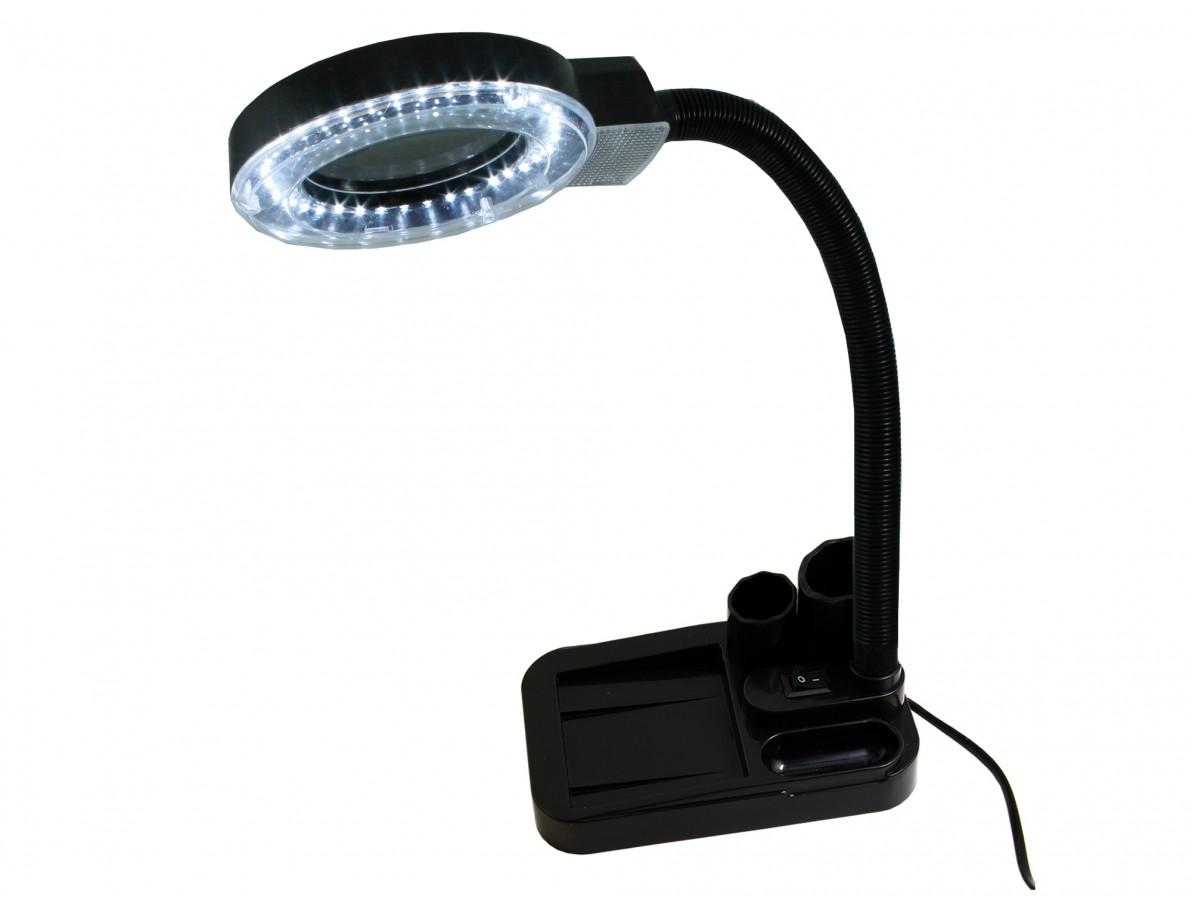 Lupa de Bancada com Iluminação 36 LEDs e Aumento de 5D e 20D e Porta Objetos LED 138A