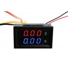 Voltímetro Digital com Amperímetro 10A / 0 a 100VDC - Vermelho/Azul
