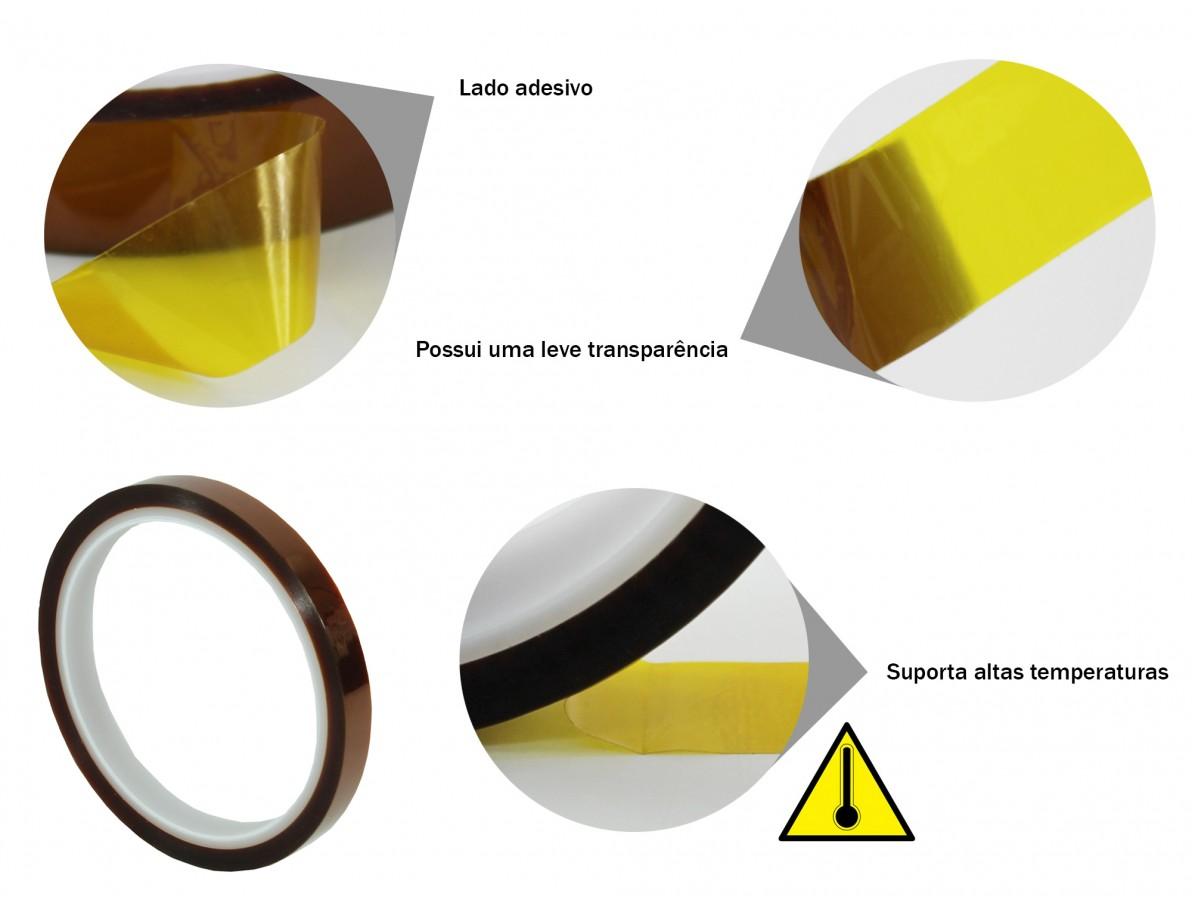 Fita kapton de poliamida resistente a altas temperaturas - 33m x 10mm