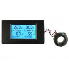 Voltímetro AC Wattímetro Amperímetro 4 Em 1 80V a 260VAC 100A - PZEM-061