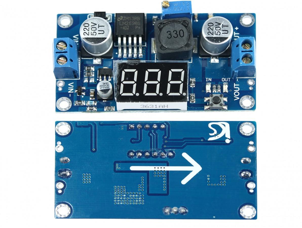 Regulador de Tensão Ajustável LM2596 Step Down DC-DC com Display