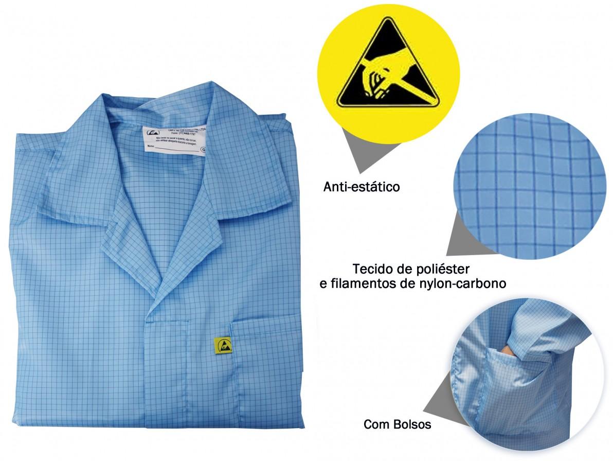 Jaleco / Avental Antiestático ESD Azul - Tamanho G