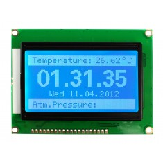 Display LCD 128x64 Pixels com Fundo Azul