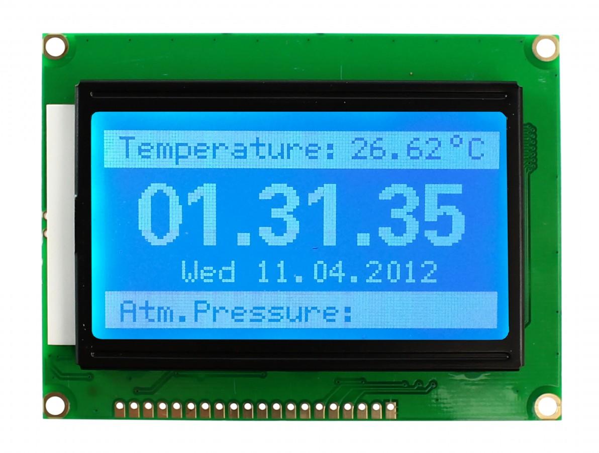 Display LCD 128×64 Pixels com fundo azul