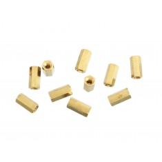 Espaçador Metálico Sextavado de Bronze M3 x 10mm PCB - Fêmea x Fêmea - Kit com 10 unidades