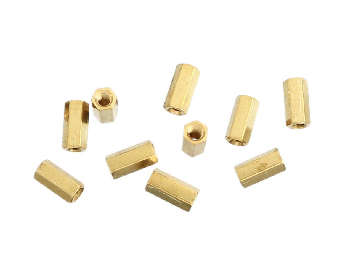 Espaçador Metálico Sextavado de Bronze M3 x 10mm PCB - Fêmea - Kit com 10 unidades