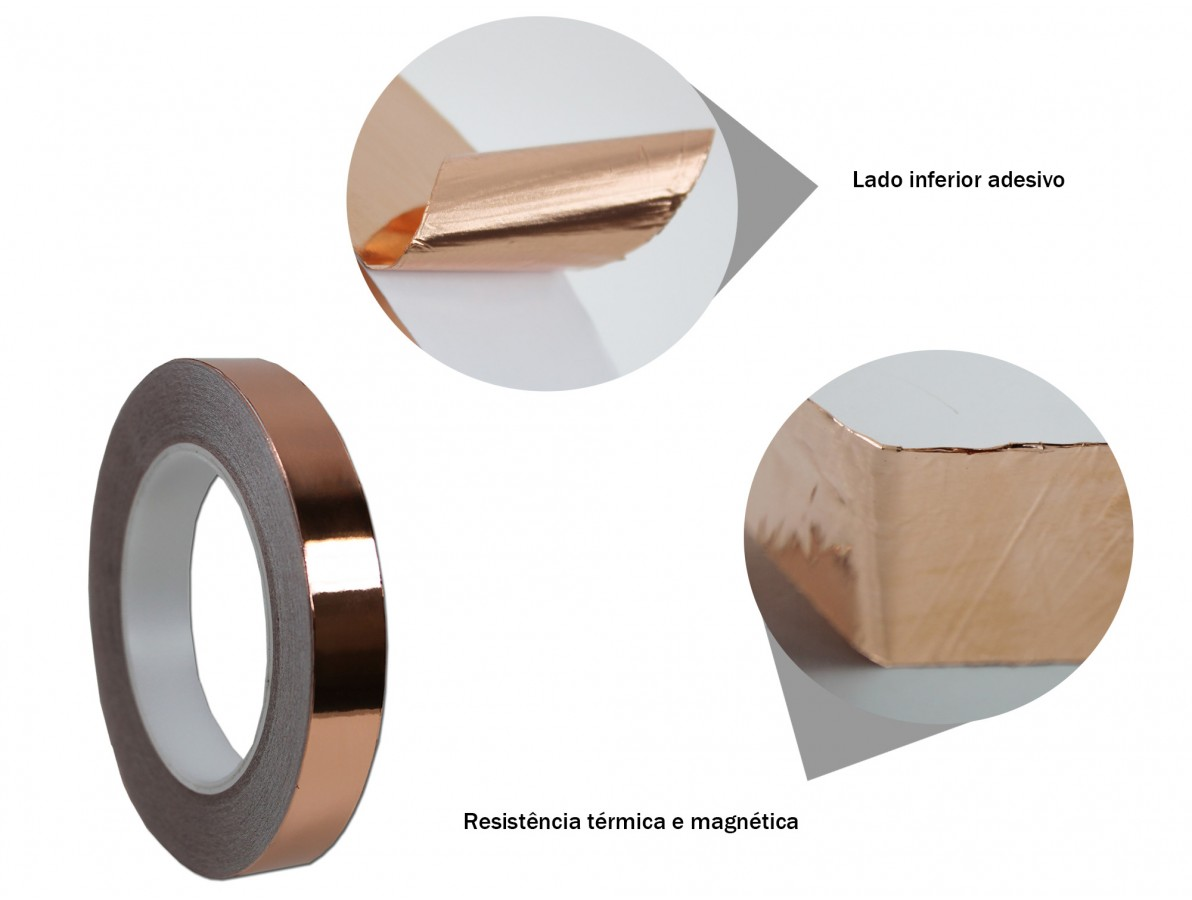 Fita de cobre para blindagem e proteção de equipamentos - 18mm x 30m