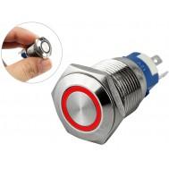 Pulsador Push Button NA/NF 16mm em Aço Inox com Iluminação em LED Vermelho - Impermeável
