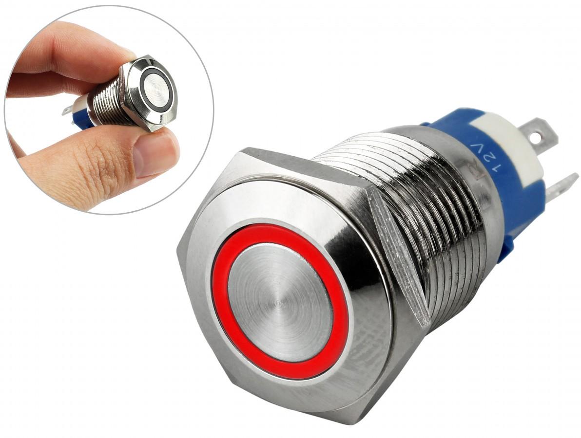 Pulsador Push Button em Aço Inox com Iluminação em LED Vermelho - Impermeável