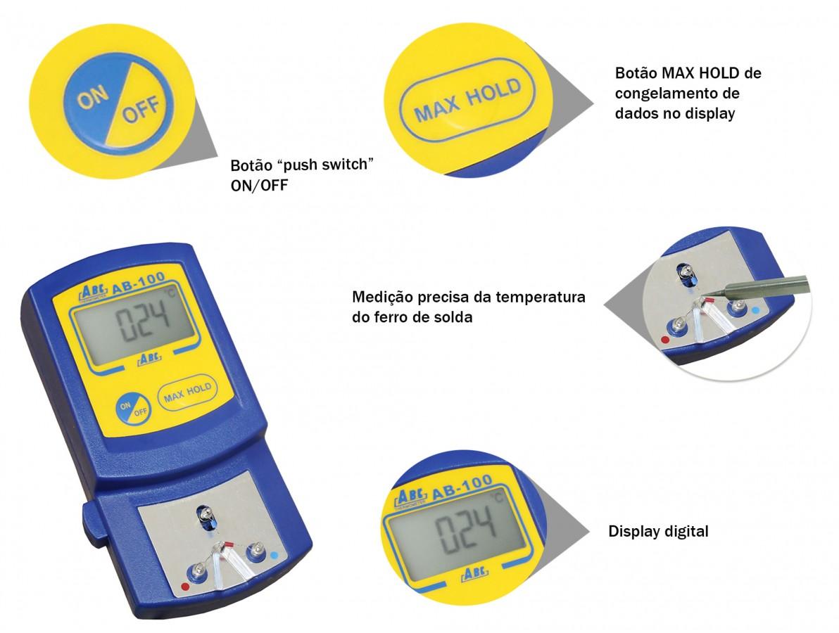 Termômetro digital para medir a temperatura da ponta do ferro de solda - FG100