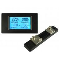 Voltímetro DC Wattímetro Amperímetro 4 em 1 6.5V a 100VDC 50A PZEM-051 + Resistor Shunt