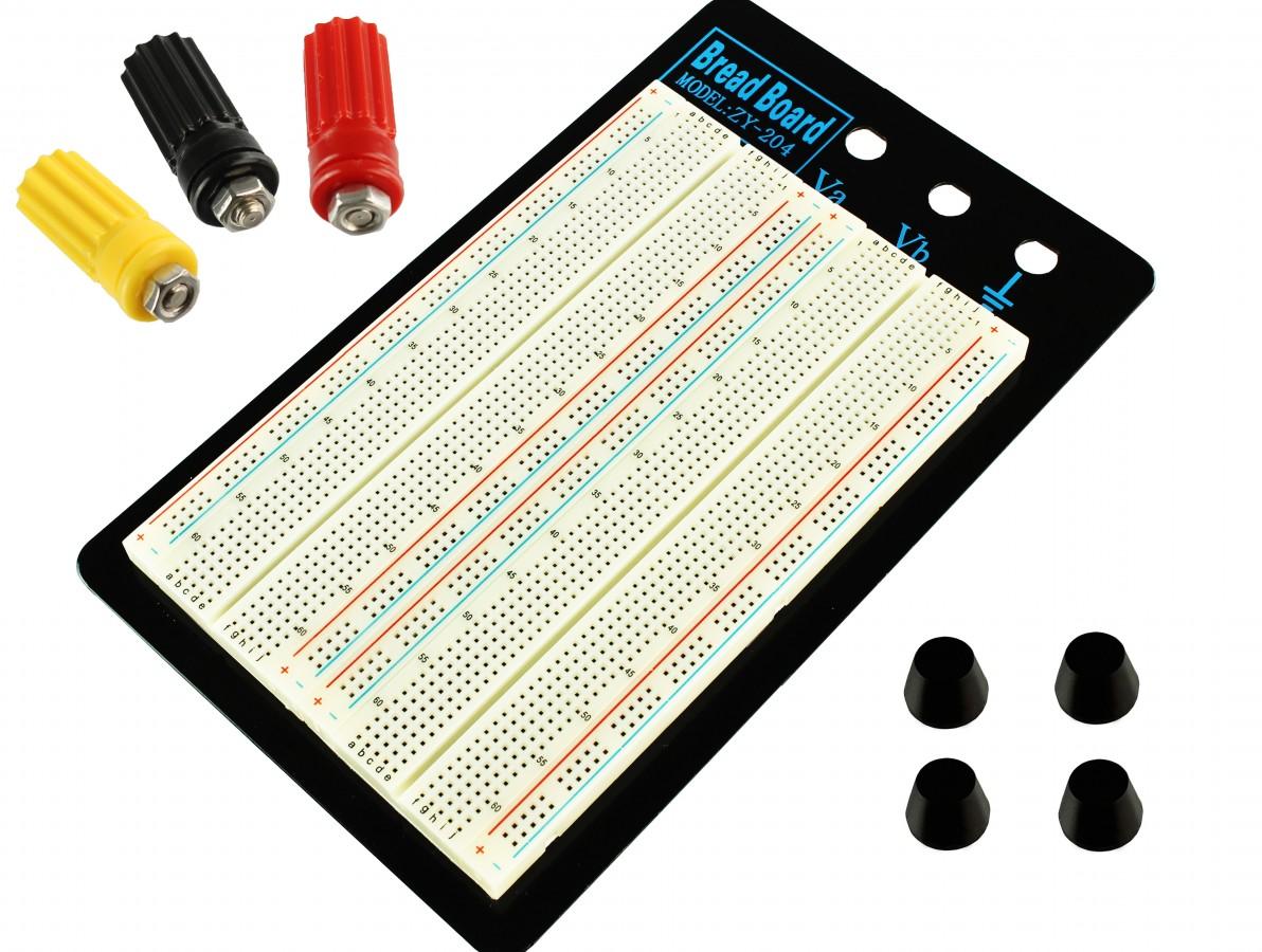 Protoboard 1660 pontos com base em Alumínio e Bornes de Alimentação ZY-204