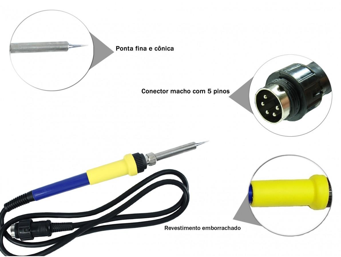 Ferro de solda para Estação de Solda - Conector macho 5 pinos - Azul e Amarelo