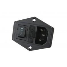 Tomada Fêmea com Interruptor e Porta Fusível para Impressora 3D e CNC 250VAC 10A