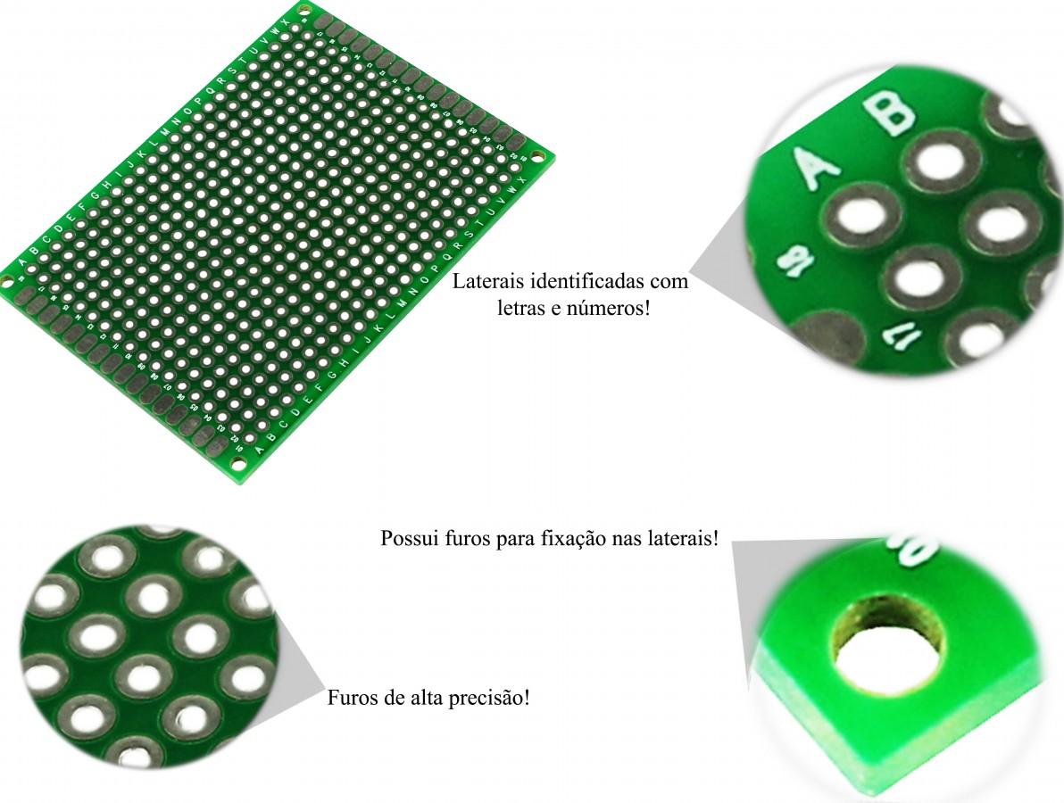 PCI / Placa de Circuito Impresso Ilhada 432 furos 5x7