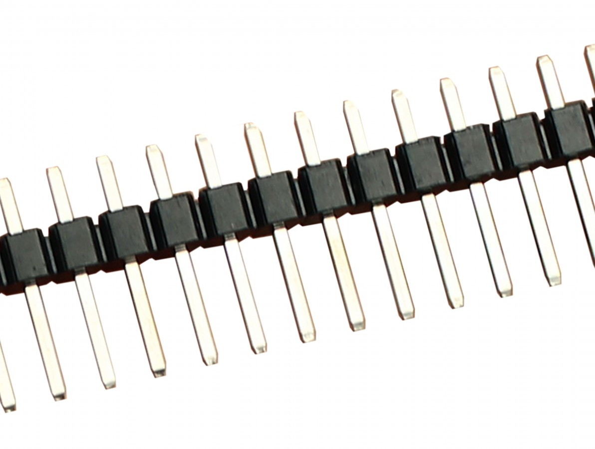 Barra de pinos macho 1x40 vias com passo de 2,54mm - Preto