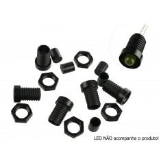 Suporte para LED 5mm Preto com Rosca - Kit com 5 Unidades