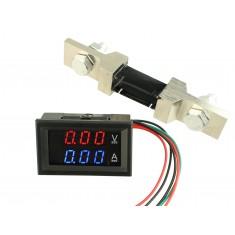 Voltímetro Digital com Amperímetro 200A / 0 a 200VDC - Vermelho/Azul + Resistor Shunt