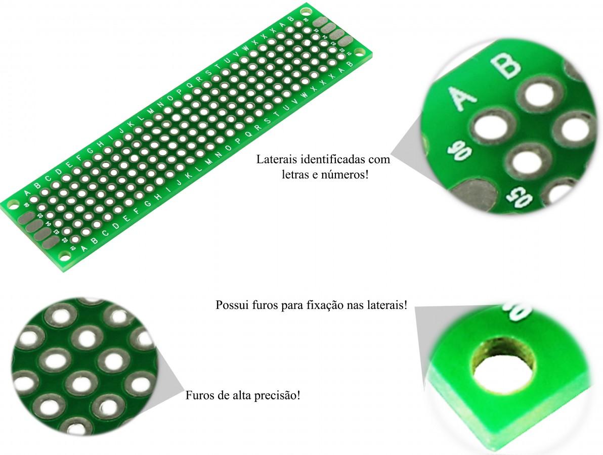 PCI / Placa de Circuito Impresso Ilhada 168 furos 2x8cm