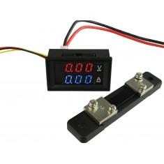 Voltímetro Digital com Amperímetro 50A / 0 a 100VDC - Vermelho/Azul + Resistor Shunt