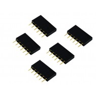 Barra de 6 Pinos 2,54mm Fêmea / Conector Empilhável para PCI - Kit com 5 unidades
