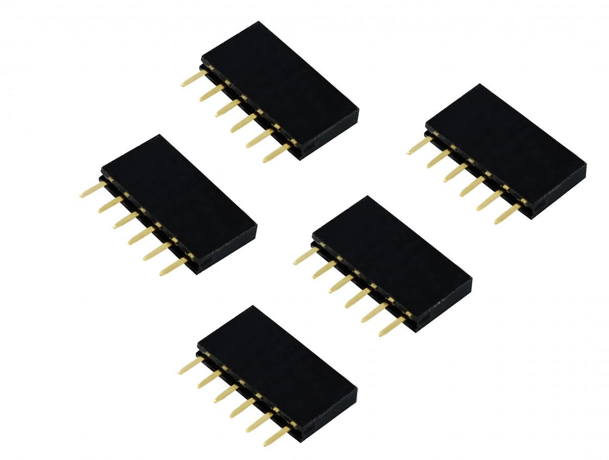 Barra de 6 pinos fêmea / Conector Empilhável para PCI - Kit com 5 unidades