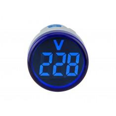 Voltímetro Digital 22mm 60-500V AC Sinaleiro para Painel - Azul