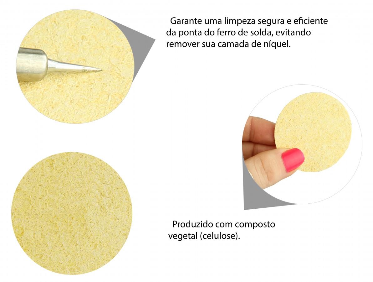 Esponja vegetal para limpeza da ponta do ferro de solda - Circular