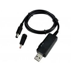 Cabo USB P4 com Regulador de Tensão 5V para 9V ou 12V DC Step Up e Voltímetro + Adaptador - KWS-912V