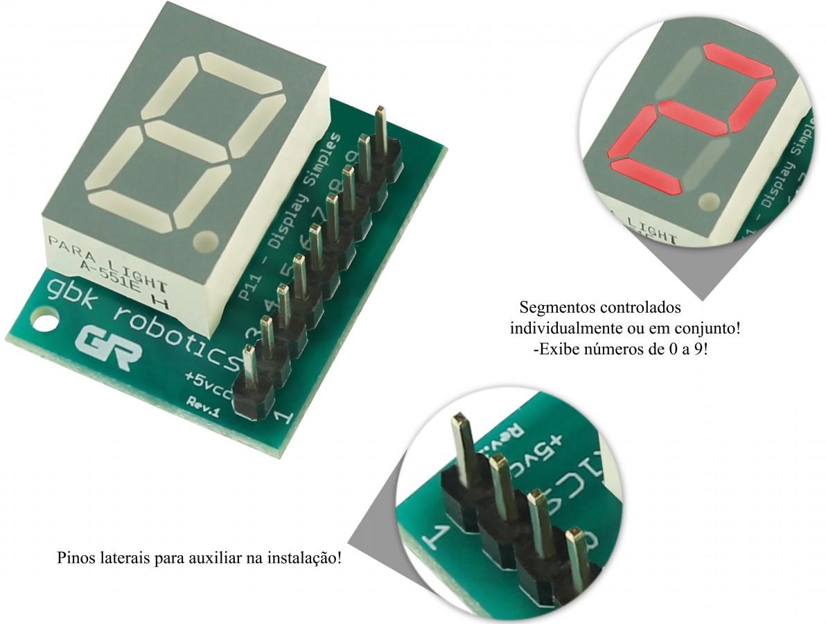 Módulo Display 7 Segmentos Ânodo Comum