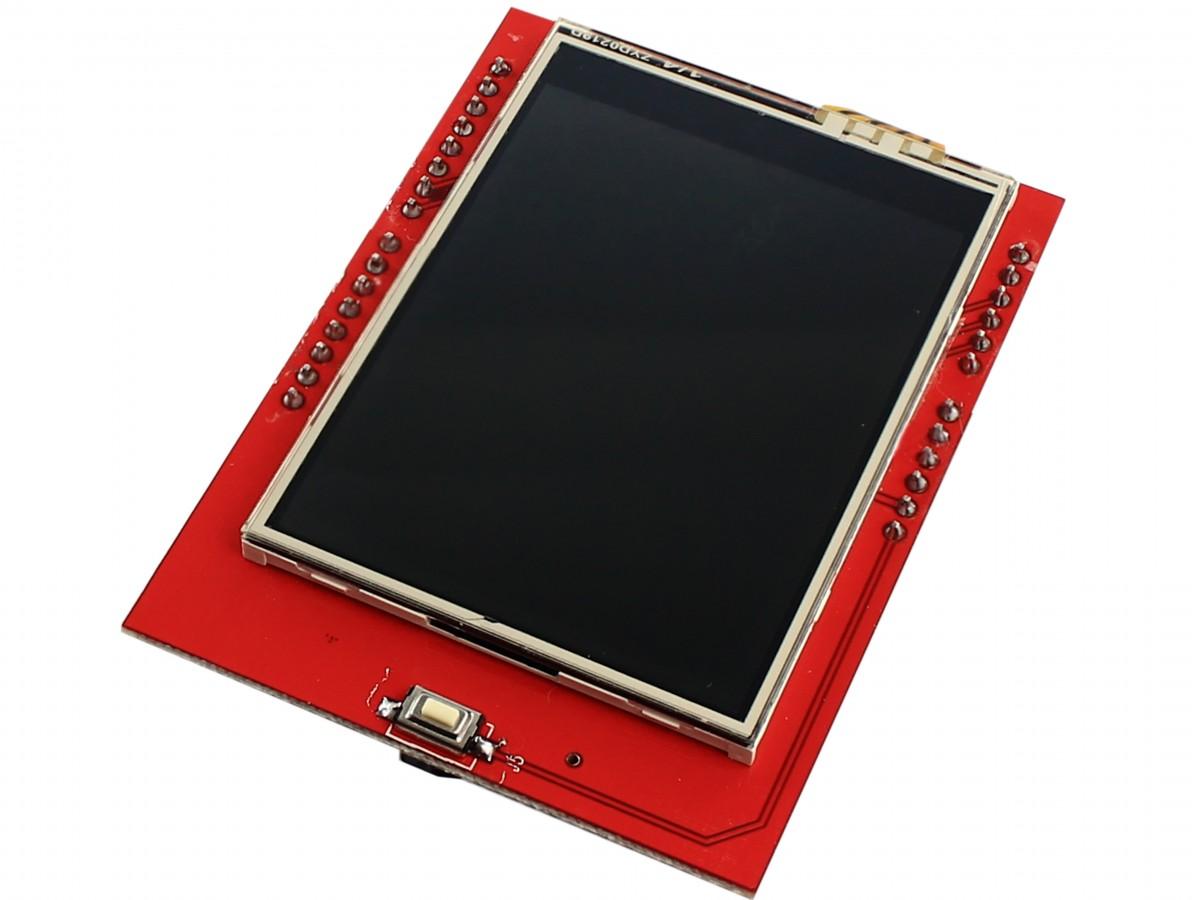 "TFT LCD 2.4"" Shield Arduino Touch Screen com Slot SD"
