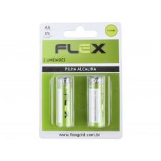 Pilha AA 1,5V Alcalina Flex - Kit com 2 unidades