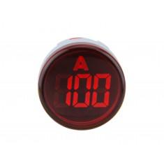 Amperímetro Digital 22mm 100A 300VAC Sinaleiro para Painel - Vermelho