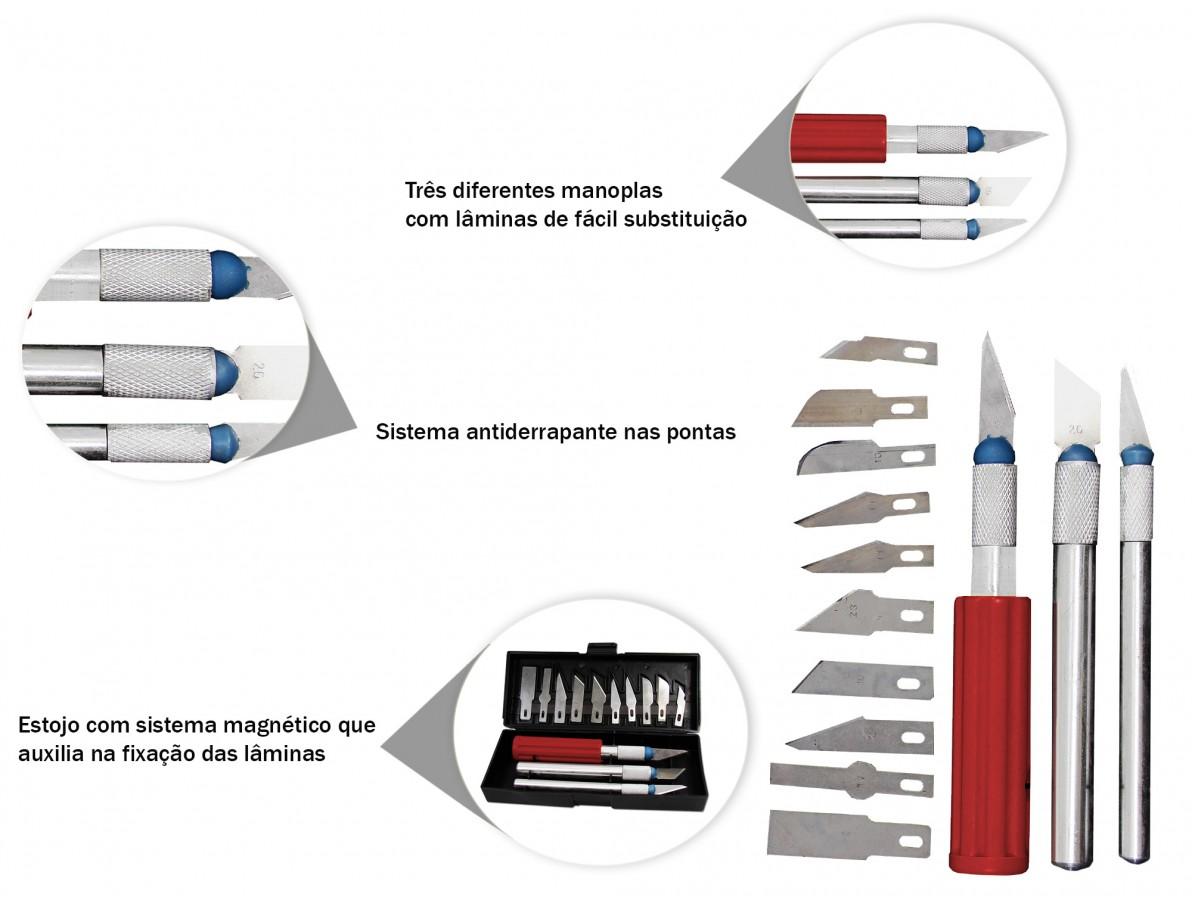 Kit estiletes de precisão com 13 lâminas substituíveis