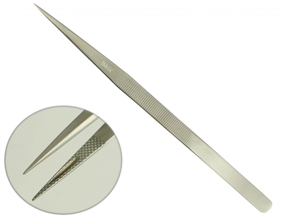 Pinça reta de titânio inoxidável com pontas extra-fina 165mm para trabalhos de precisão - F165