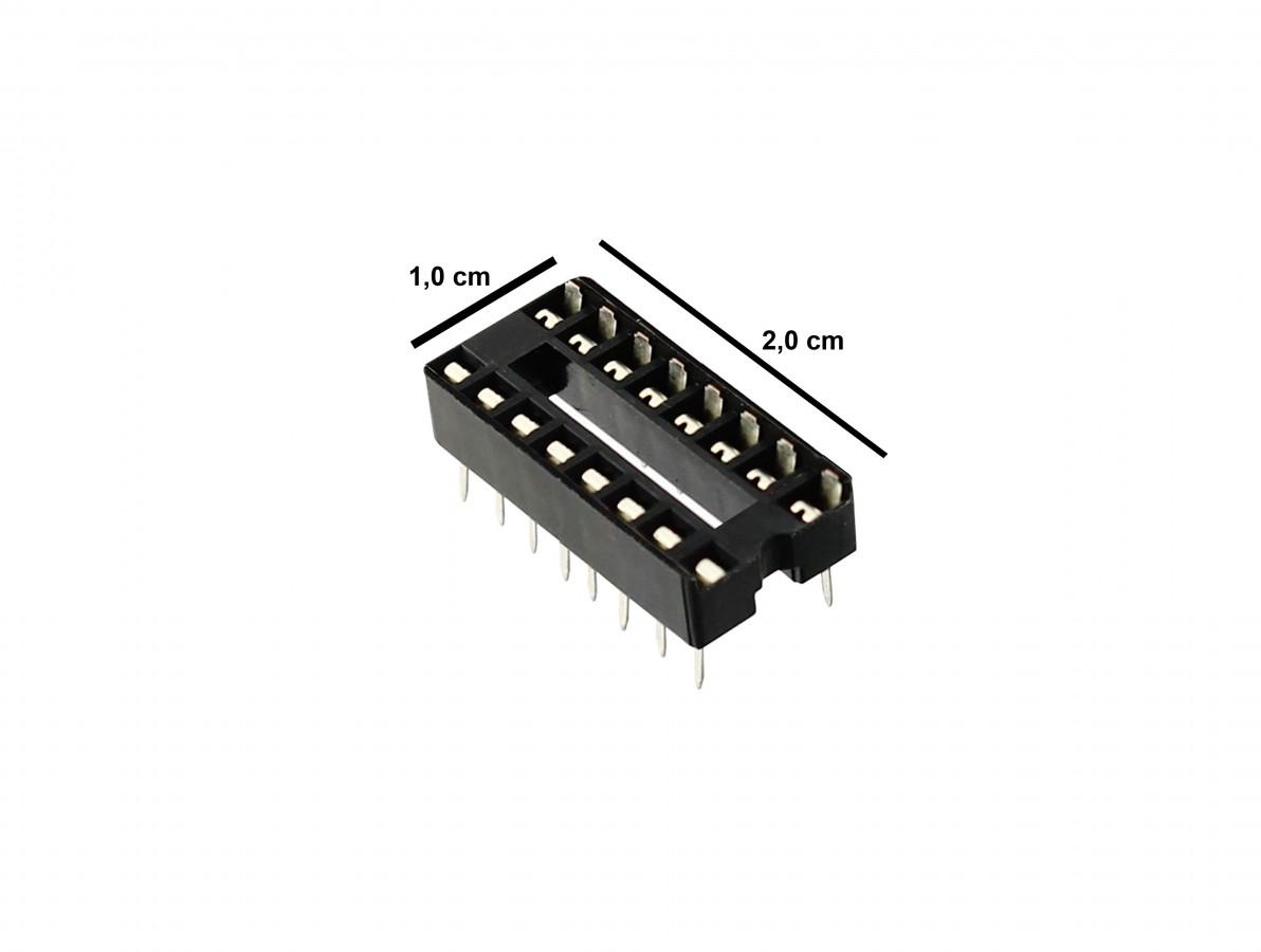 Soquete Estampado 16 pinos para CI - Kit com 5 unidades