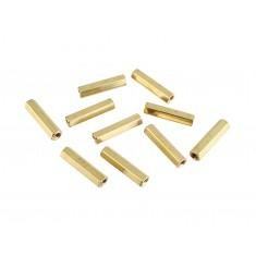 Espaçador Metálico Sextavado de Bronze M3 x 20mm PCB - Fêmea x Fêmea - Kit com 10 unidades