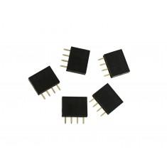 Barra de 4 Pinos 2,54mm Fêmea / Conector Empilhável para PCI - Kit com 5 unidades