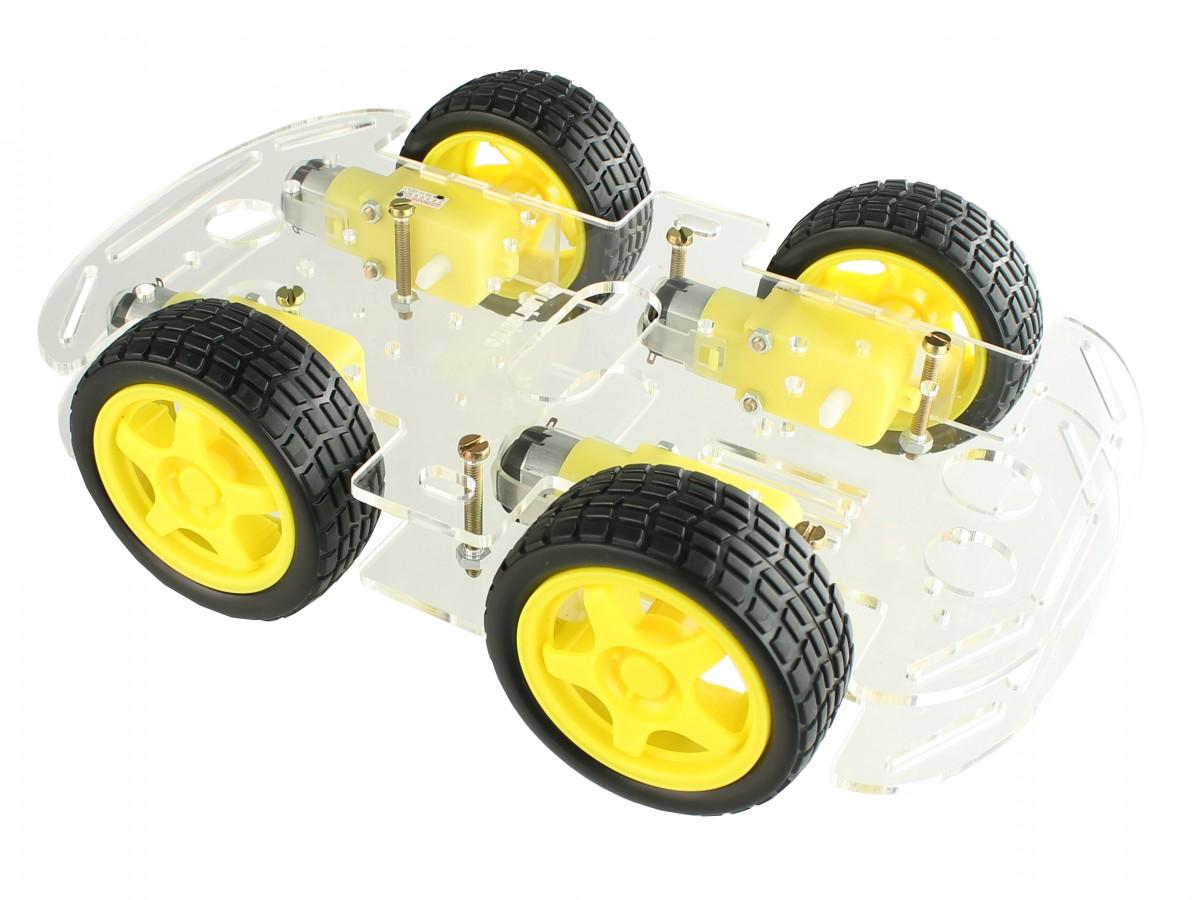 Carrinho Arduino / Carro Robô 4WD 80RPM Acrílico 3mm - Kit Chassi