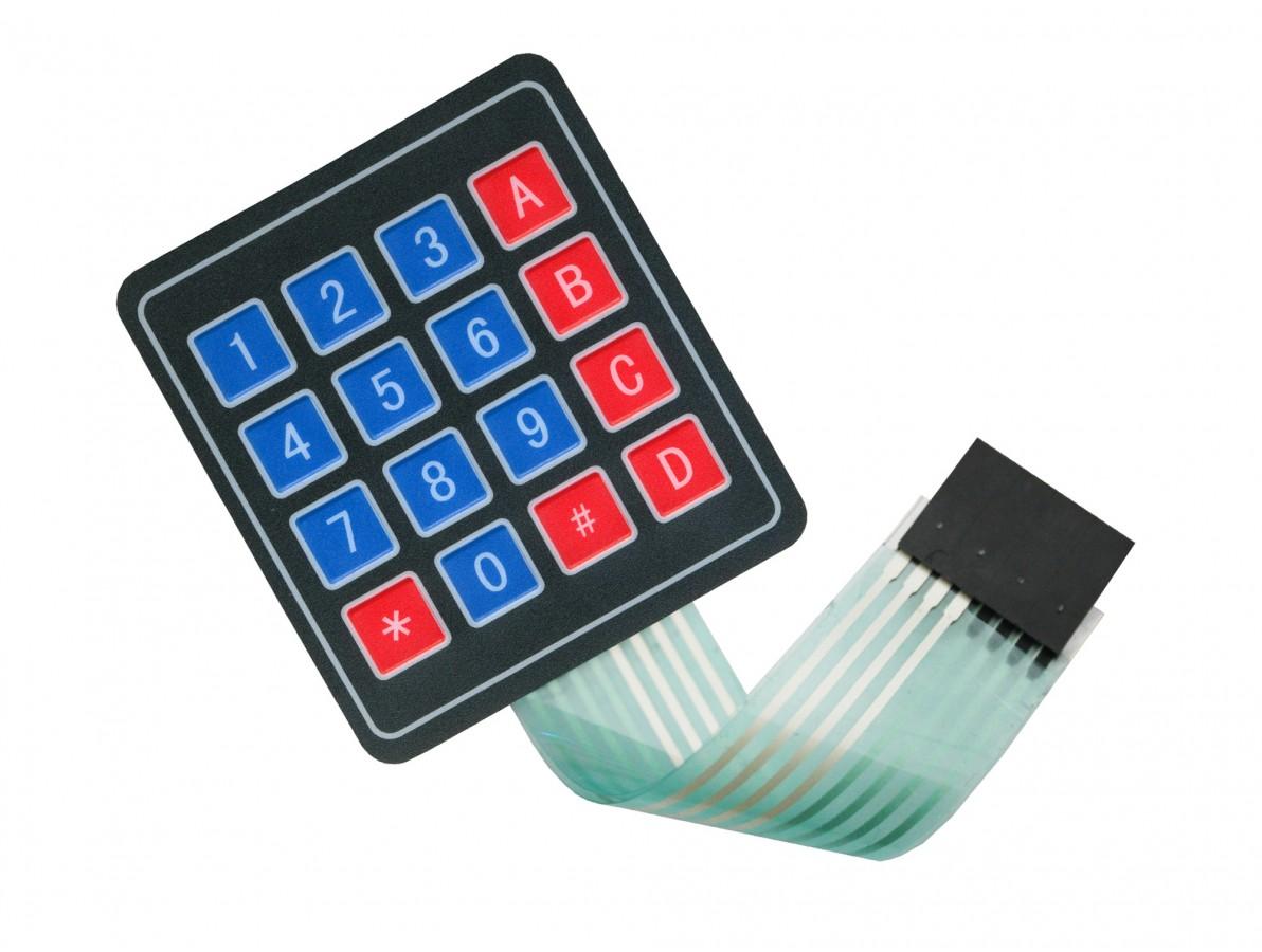 Teclado Matricial Membrana 4x4 para Arduino - 16 teclas