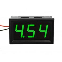 Voltímetro Digital 3 dígitos LED 4.5V a 30VDC - Verde