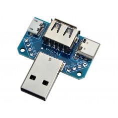 Adaptador USB 4 em 1 para USB Tipo C, Micro USB, USB fêmea e DIP