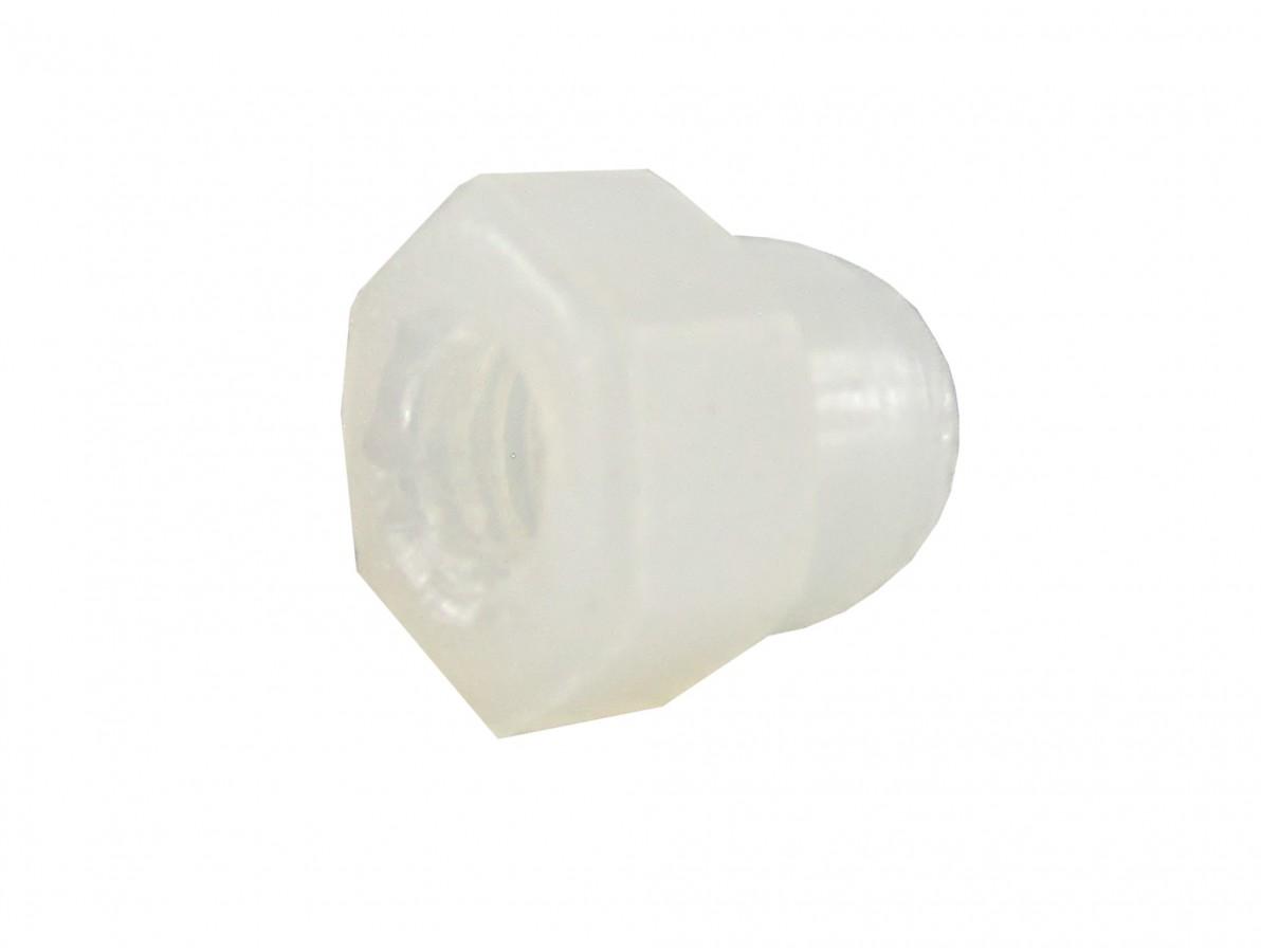 Porca Plástica Sextavada em Nylon M3 tipo calota - Kit com 10 unidades