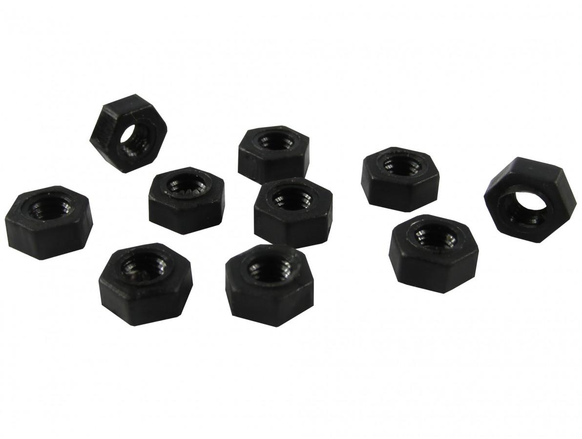 Porca Plástica Sextavada em Nylon M3 - Kit com 10 unidades (Preta)