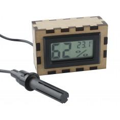 Case em MDF para Termômetro Digital,Mini Termo Higrômetro com Sonda e Voltímetro Digital