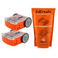 Kit de Robótica Educacional EdSTEM - Combo com 2 Robôs Edison V2.0 + EdCreate 115 Blocos 5 em 1