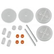 Kit de Engrenagens e Rodas para Carrinho Robótico Maker 16 Peças - PN2